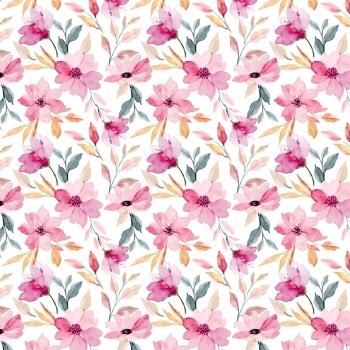 Rainy Day Aquarellblumen weiß Sommersweat Stoffduo Eigenproduktion